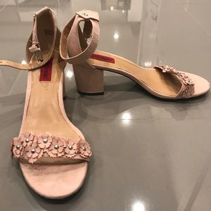 Pink Strappy Sandal Block Heel with Floral Design